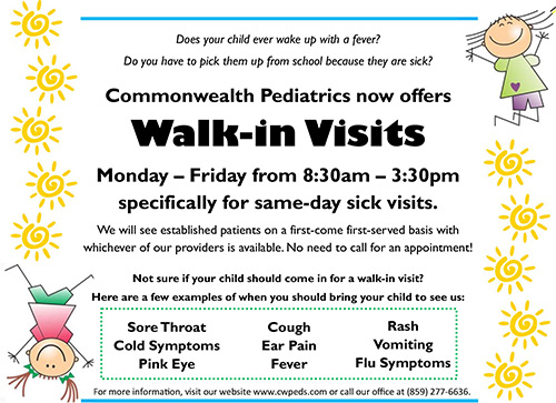 Commonwealth Pediatrics now offers Walk-in Visits