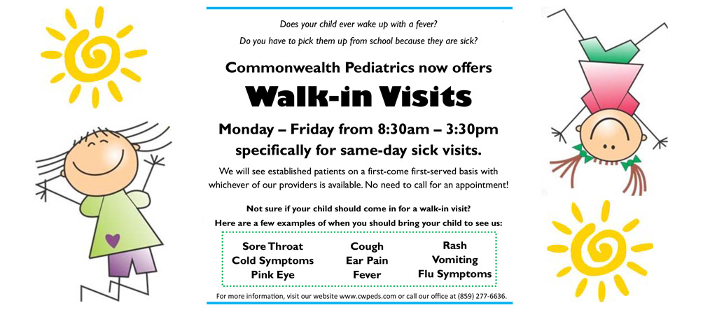 Commonwealth Pediatrics now offers Walk-in Visits Monday through Friday